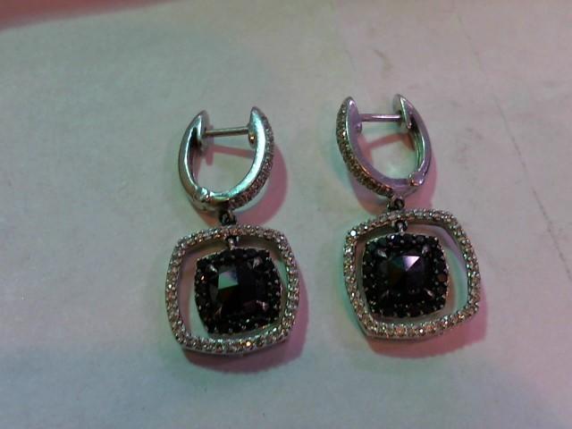 Black Stone Gold-Diamond & Stone Earrings 102 Diamonds 1.02 Carat T.W.