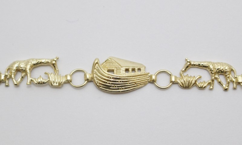 "6"" 10K Yellow Gold Noah's Ark Bracelet w/ Lobster Clasp 7.25"""