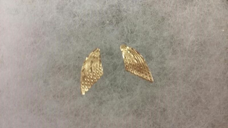 Diamond Cut Angel Wing Earrings, 14K Yellow Gold 0.36dwt, Posts