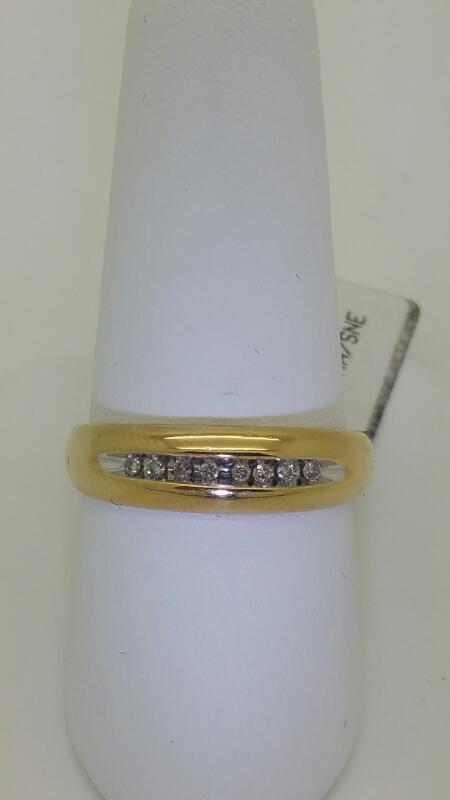 Gent's Gold-Diamond Wedding Band 8 Diamonds .16 Carat T.W. 10K Yellow Gold