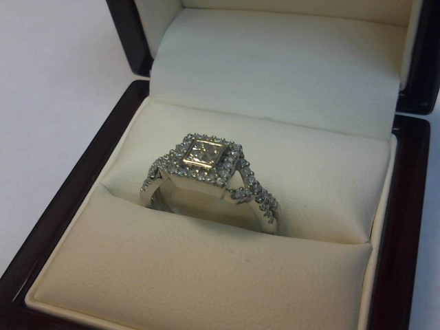 Lady's Diamond Engagement Ring 52 Diamonds .68 Carat T.W. 14K White Gold 3dwt