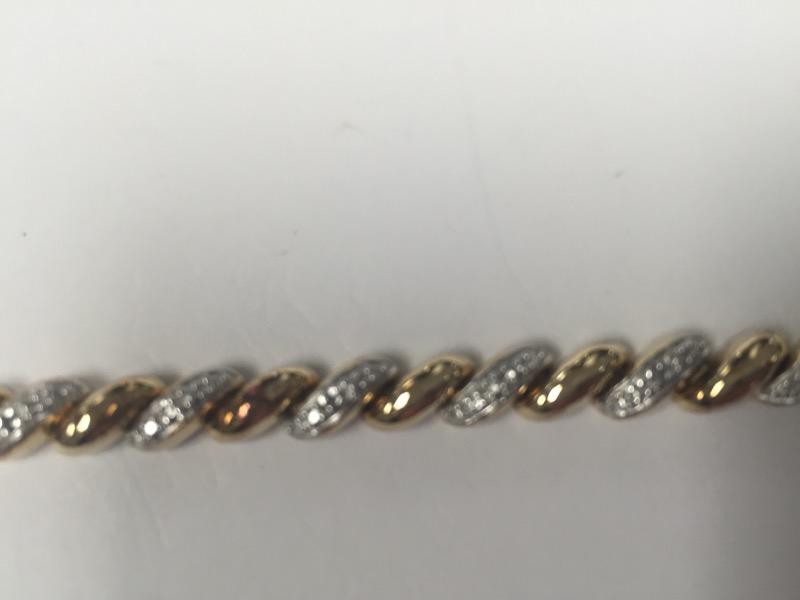 "Gold tone Silver Bracelet 15.9g 7.5"""