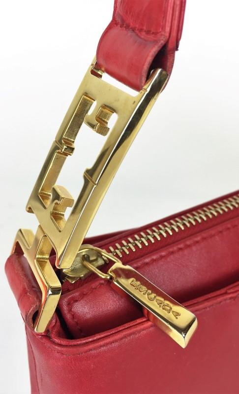 ESCADA RED LEATHER CROC PRINT SHOULDER BAG