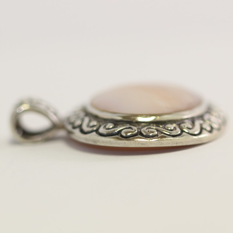 Vintage Inspired Sterling Silver Mother Of Pearl Pendant
