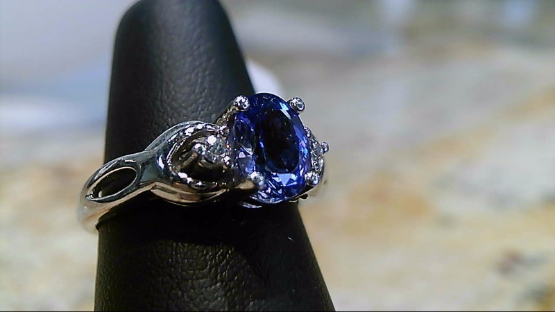Tanzanite Lady's Stone & Diamond Ring 2 Diamonds .02 Carat T.W. 14K White Gold