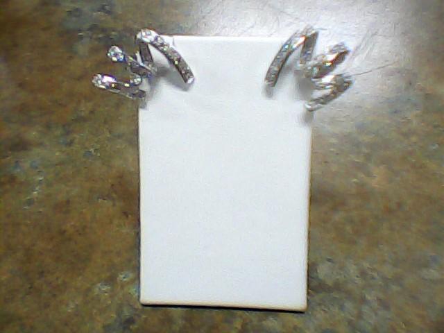 Gold-Diamond Earrings 50 Diamonds .50 Carat T.W. 10K White Gold 6.7g