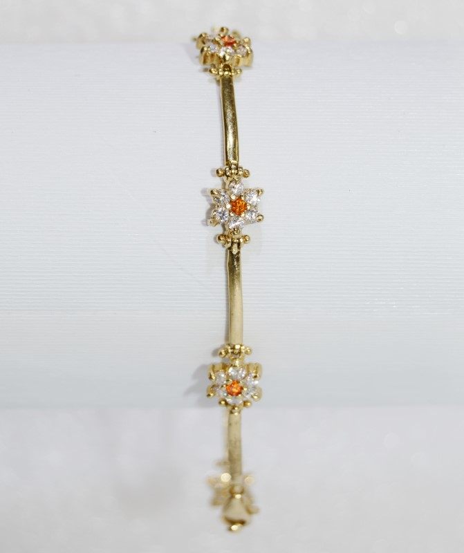 "7.5"" 10K Yellow Gold Floral Citine & CZ Flower Cluster Bar Bracelet"
