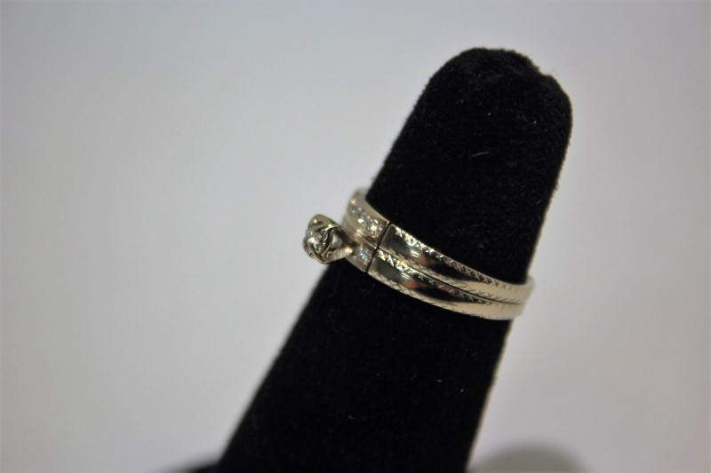 Lady's Diamond Wedding Set 6 Diamonds .08 Carat T.W. 14K White Gold 3.4g