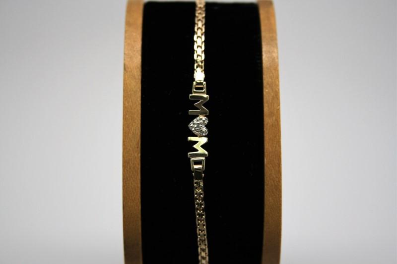 MOM DIAMOND BRACELET 10K YELLOW GOLD