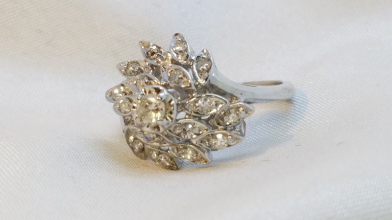 Lady's Diamond Cluster Ring 17 Diamonds .42 Carat T.W. 14K White Gold 5.1g