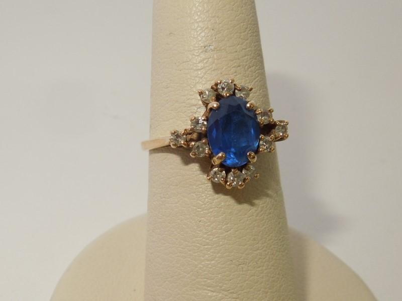 Synthetic Sapphire Lady's Stone & Diamond Ring 12 Diamonds .24 Carat T.W.