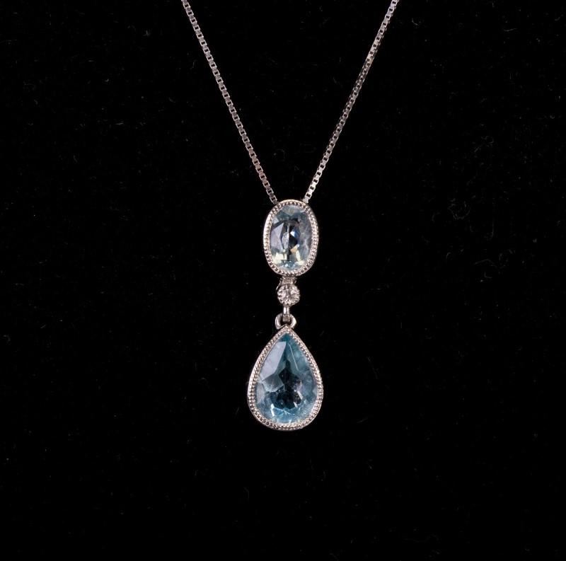 Necklace 14KWG Pendant Aquamarine & Diamond 2.5G