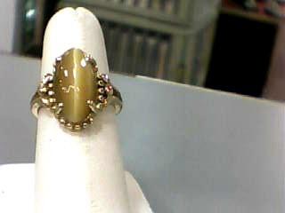 Cats Eye Crysoberyl Lady's Stone Ring 10K Yellow Gold 2.8dwt Size:6