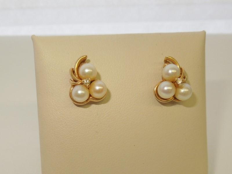 Pearl Gold-Diamond & Stone Earrings 2 Diamonds .010 Carat T.W. 10K Yellow Gold