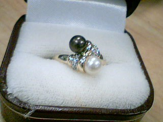Synthetic Pearl Lady's Stone & Diamond Ring 2 Diamonds .02 Carat T.W.