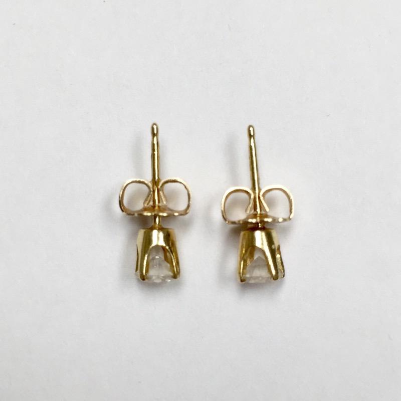 Gold-Diamond Earrings 2 Diamonds .50 Carat T.W. 14K Yellow Gold 0.6dwt