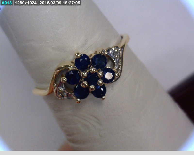 Sapphire Lady's Stone & Diamond Ring 2 Diamonds .02 Carat T.W. 10K Yellow Gold