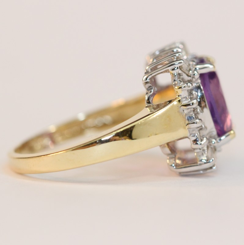 Vintage Inspired Amethyst and Diamond Ring Size 7