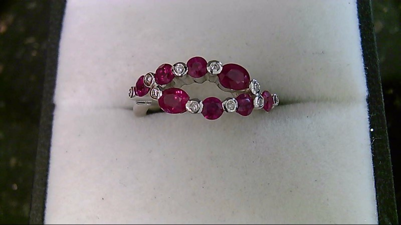 July Birthday Unique Designed Ruby Lady's Stone & Diamond Ring