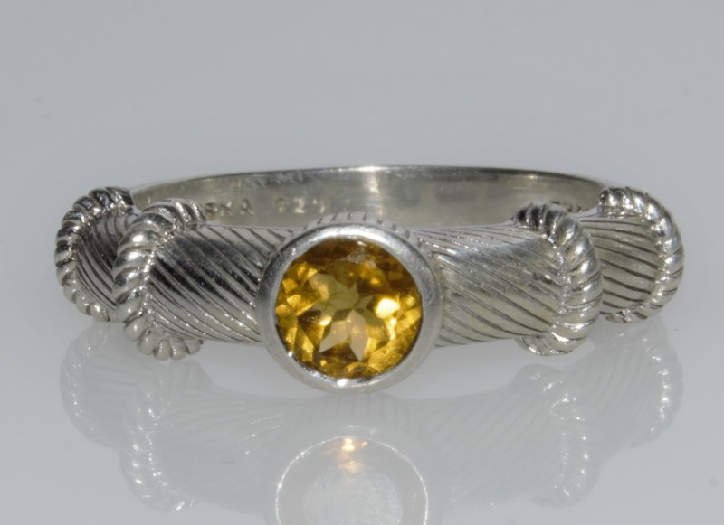 Judith Ripka Sterling Silver Round Citrine Solitaire Cable Ring s. 11.75