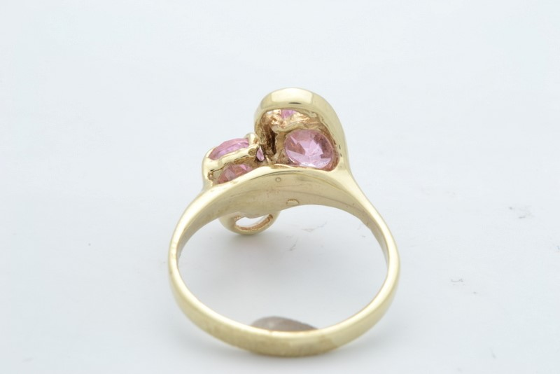 DOUBLE PINK STONE RING SOLID 10K GOLD OVAL CUT WRAP ICE SIZE 4.75