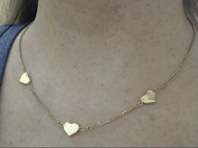 """ESTATE 18"""" HEART CHARM CHAIN NECKLACE REAL 10K YELLOW GOLD 3.7g LOVE"""