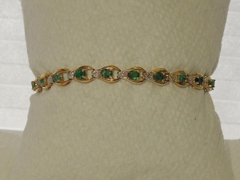 Synthetic Emerald Gold-Diamond & Stone Bracelet 21 Diamonds .021 Carat T.W.