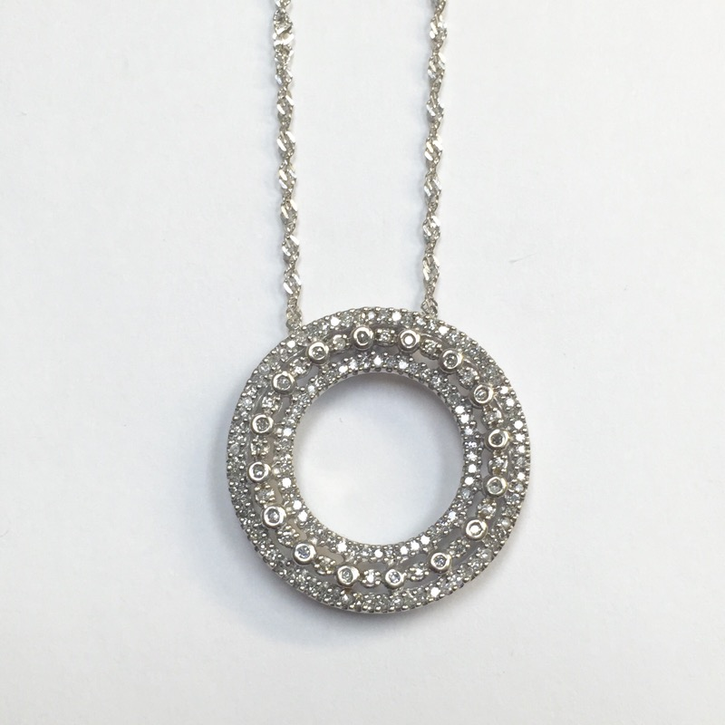 "19"" Diamond Necklace 140 Diamonds .700 Carat T.W. 14K White Gold 3.6dwt"