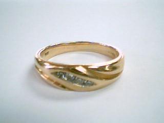 Gent's Gold-Diamond Wedding Band 4 Diamonds .22 Carat T.W. 14K Yellow Gold 7.2g