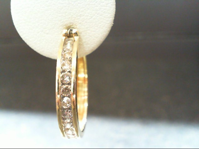 Gold-Diamond Earrings 24 Diamonds 1.0 Carat T.W. 14K Yellow Gold 7.3g