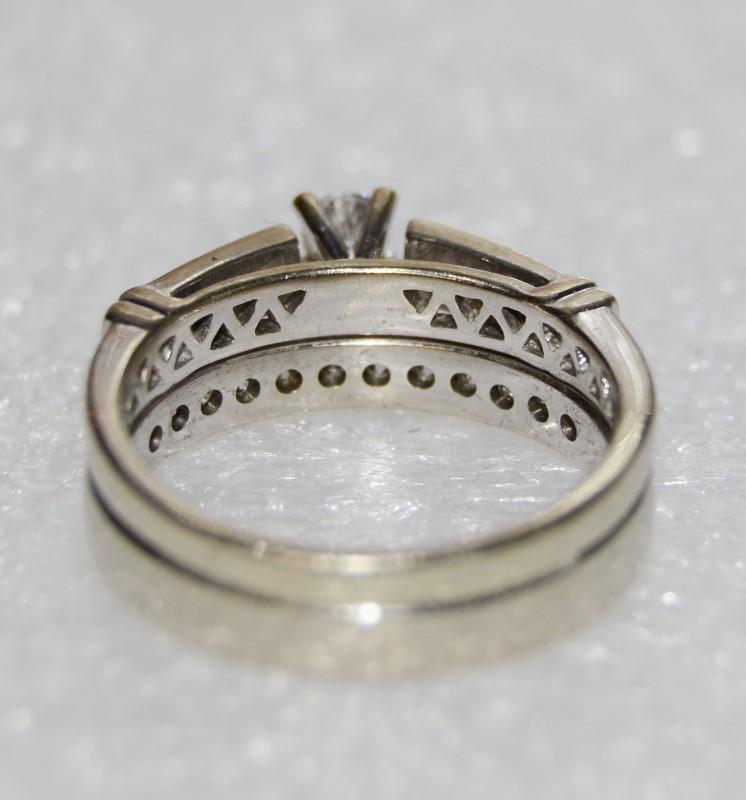 14K White Gold Channel Set & Round Brilliant Diamond Engagement Wedding Ring Set