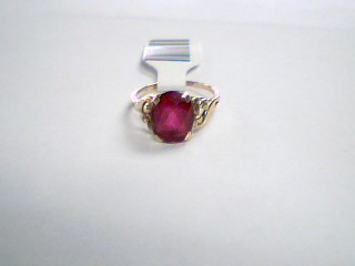 Red Stone Lady's Stone Ring 10K Yellow Gold 1.5g Size:3.5