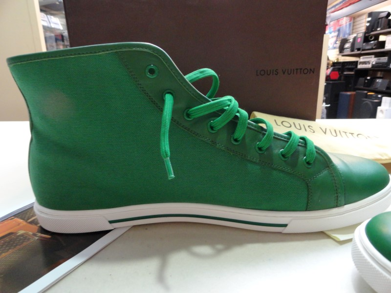 """Louis Vuitton Green """"Punchy"""" Sneakers - Size 11"""