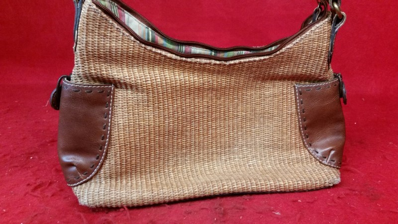 Fossil Women's Brown Woven Purse / Handbag