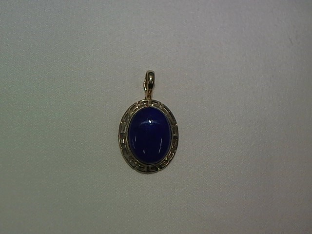 Synthetic Lapis Gold-Stone Pendant 14K Yellow Gold 3.3g
