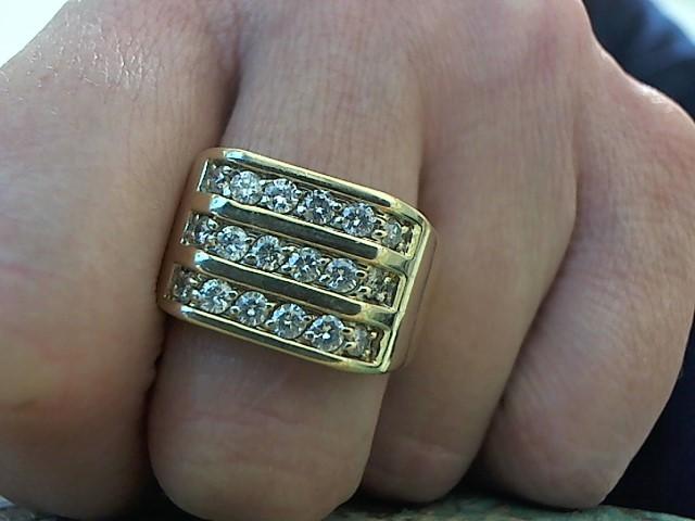 Gent's Diamond Fashion Ring 18 Diamonds .72 Carat T.W. 10K Yellow Gold 7.1g