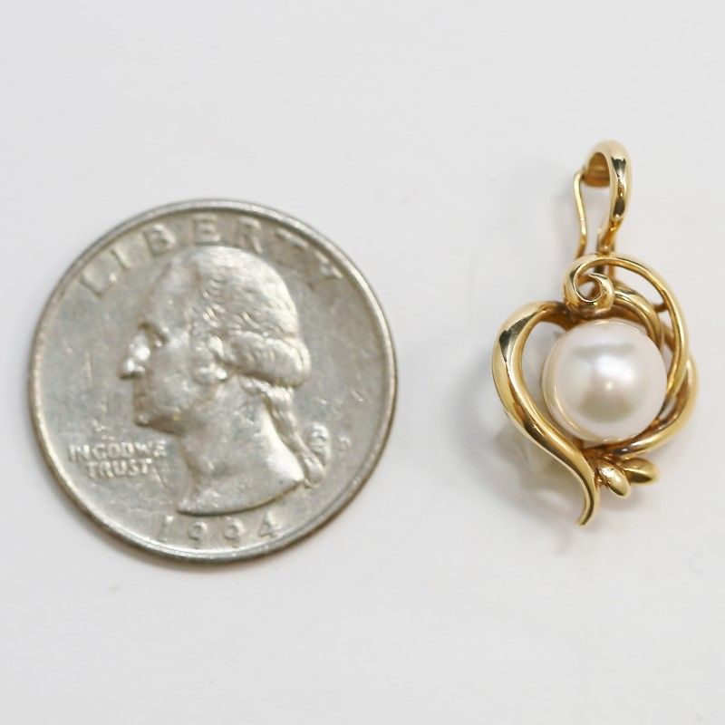14K Yellow Gold Vintage Inspired Whimsical Vine Pearl Solitaire Pendant
