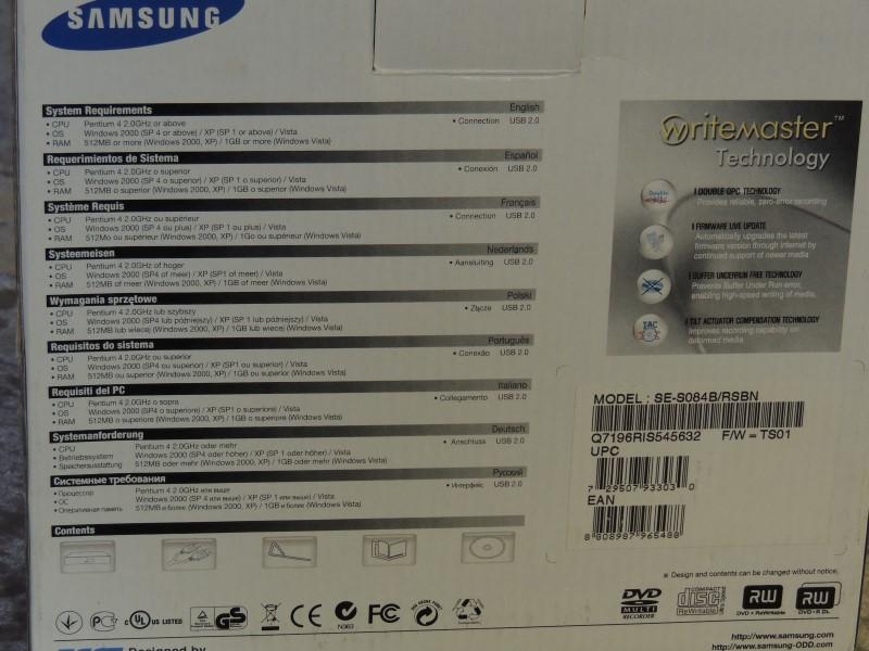 Samsung USB 2.0 8x External DVD Writer SE-S084