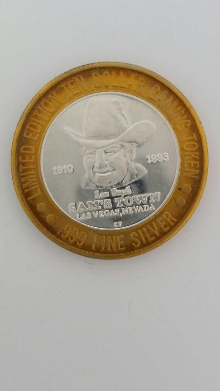 Limited Edition Sam's Town Las Vegas $10 Ten Gaming Token .999 Silver 36g