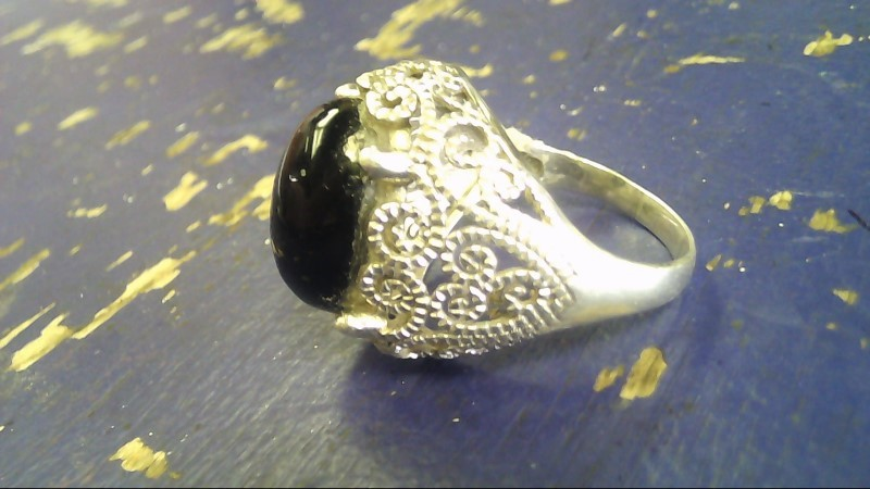 Black Stone Lady's Silver & Stone Ring 925 Silver 8g
