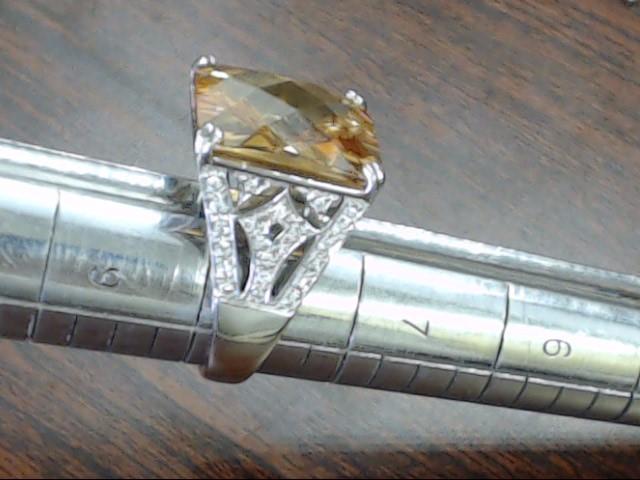ESTATE STERLING SILVER 925 LARGE ORANGE BROWN STONE RING  SIZE 7.75