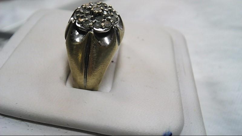 Gent's Diamond Cluster Ring 20 Diamonds .40 Carat T.W. 10K Yellow Gold 4.8g