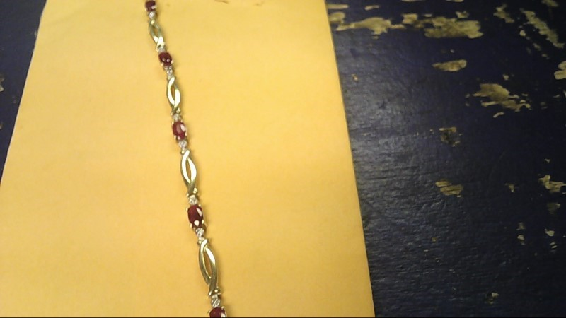 Synthetic Ruby Gold-Stone Bracelet 10K Yellow Gold 3.6g