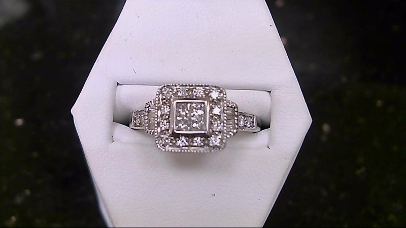 Brilliant Round Cut Diamond 10K White Gold Cluster Ring WG