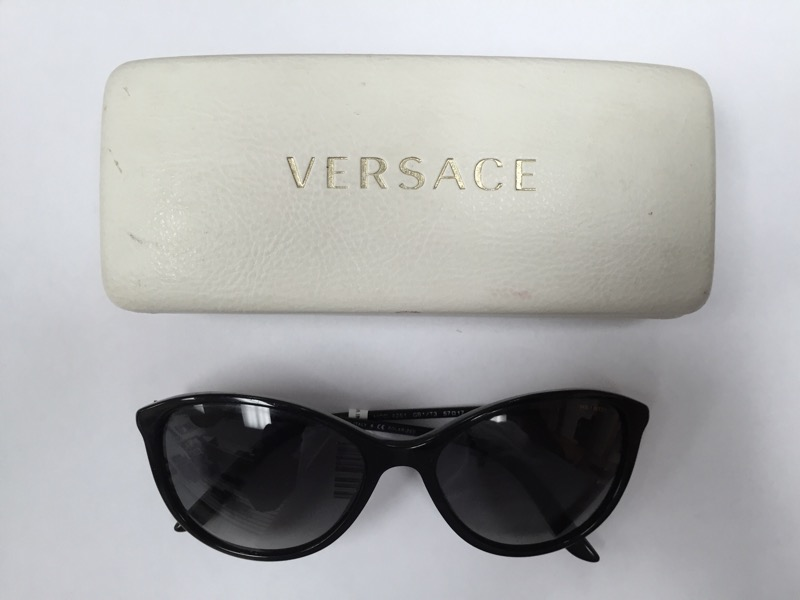 Versace Women's VE4251-GB1/11-57 Black Round Sunglasses