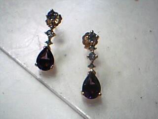 Purple Stone Gold-Stone Earrings 10K Yellow Gold 1.5g