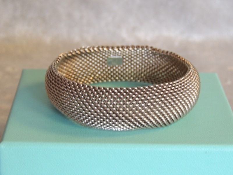 Tiffany & Co Somerset Mesh Bangle Bracelet Sterling Silver 925