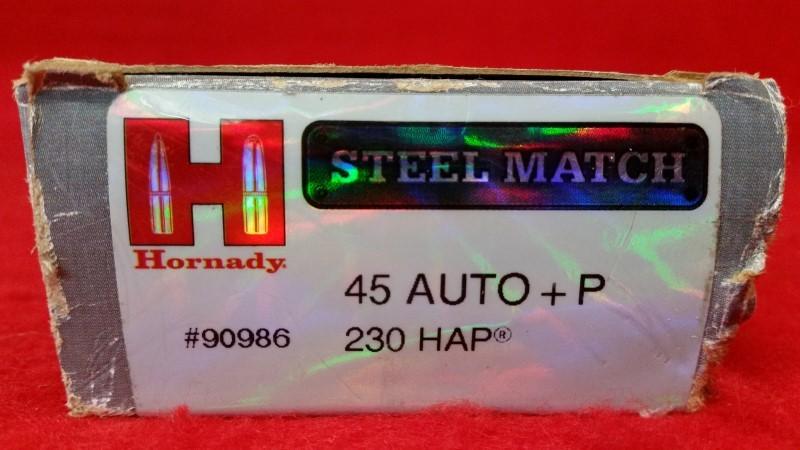 Hornady #90986 Steel Match 45acp +P 230gr HAP