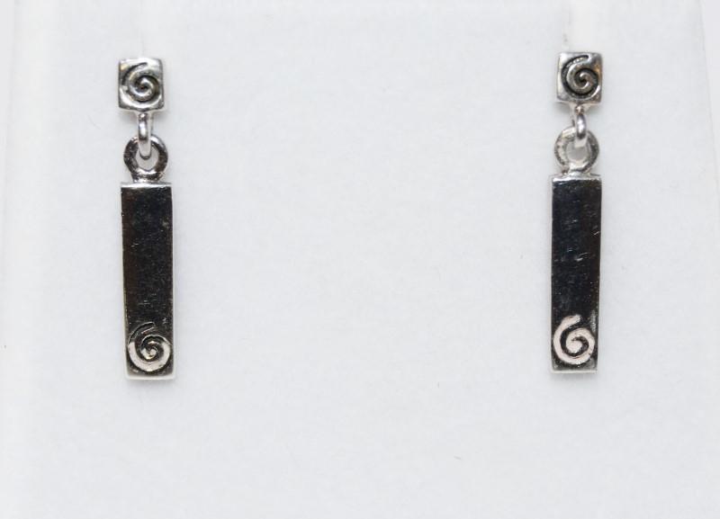 Sterling Silver Swirl Dangle Drop Bar Earrings