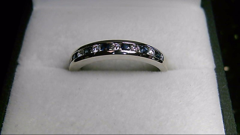 Round Sapphire Lady's Stone & Diamond 14K White Gold Ring